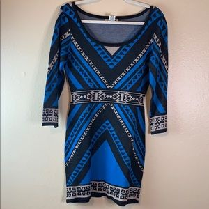 Flying Tomato Long Sleeve Geo Blue Sweater Dress S